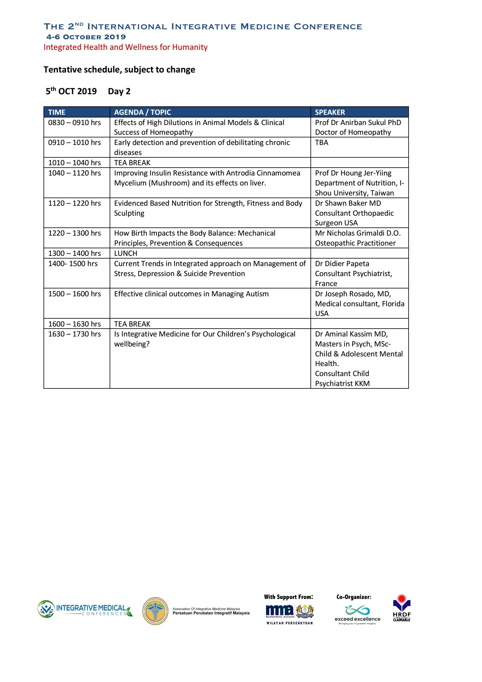 Program for 2019 Oct 5 2nd IIIMC